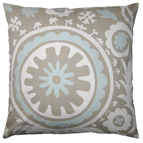 Throw Pillow Inserts 16 X 16 : JinStyles Cotton Canvas Floral Accent Decorative Throw Pillow Cover (Blue & Gray, Square, 1 ...