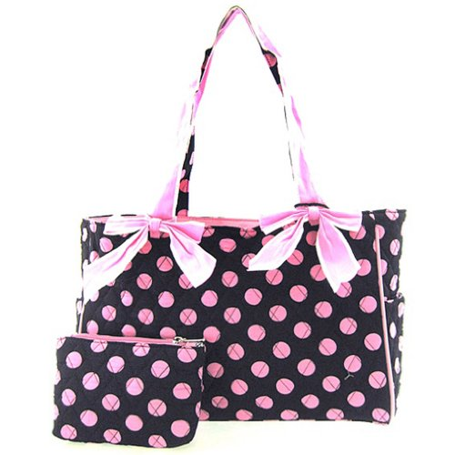Cute! Quilted Polka Dot Print Baby Girl Diaper Bag Tote Purse