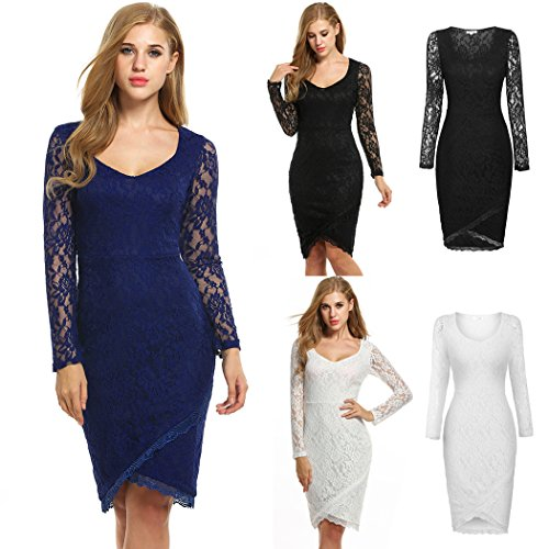 ANGVNS Women Sexy Asymmetric Hem Long Sleeve Lace V-Neck Semi-Formal Dress
