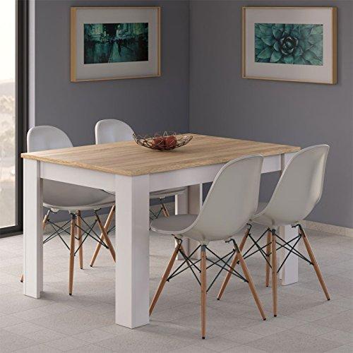 Habitdesign 0F4586 - Mesa de comedor extensible de 140 a 190 cm, color Roble Canadian y Blanco, medidas: cerrada 90 ancho x 140/190 largo 78 cm altura
