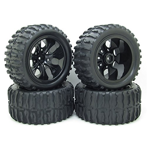 rc-1-10-truck-off-road-car-rubber-tires-wheel-rim-5-spoke-black-rc-car-parts-pack-of-4