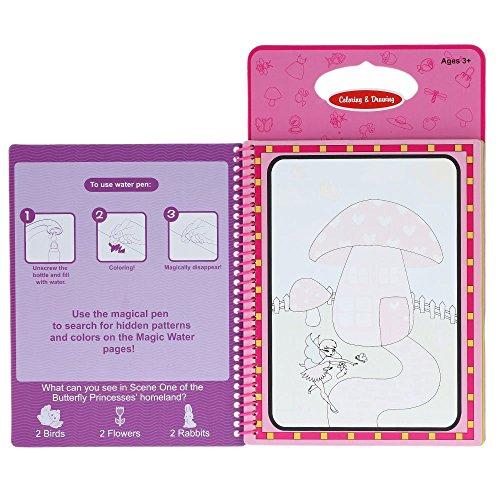 GoolRC Nicht toxische magische Wasser Zeichnungs Malbuch Doodle mit Magic Pen Schmetterling Princesses Series Bild No Ink pädagogisches Spielzeug