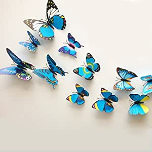 goodlucky365 24pcs blue 3d butterfly stickers wall stickers crafts butterflies wall decoration. Black Bedroom Furniture Sets. Home Design Ideas