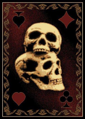 United Weavers Legends Area Rug 910-06130 Skulls Black Skeleton Skull 5' 3