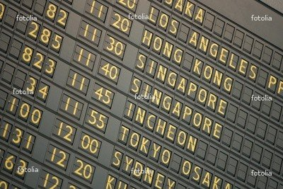 "Wallmonkeys Peel and Stick Wall Graphic - The Ticker Board Sign Announcing Arrivals and Departures. - 18""W x 12""H"