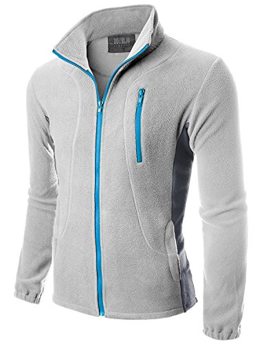 Doublju Mens Two-tone Long Sleeve Full-Zip Lightweight Big Size Fleece Jacket LIGHTGRYCOOLGRAY,XL