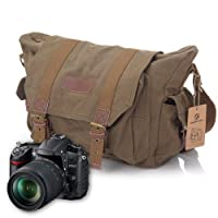 Koolertron Canvas DSLR SLR Camera Shoulder Bag Backpack Rucksack Bag For Sony Canon Nikon Olympus External Size: 35 13 25CM Green by Koolertron