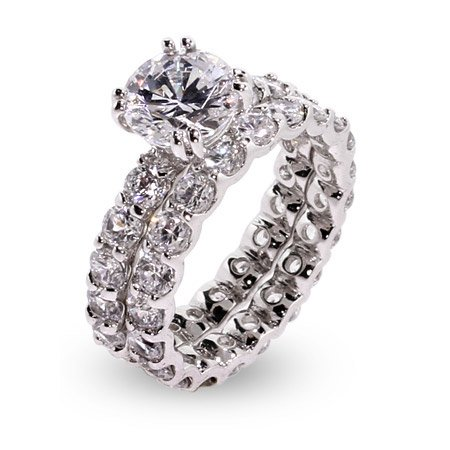 Sparkling Brilliant Cut CZ Sterling Silver Engagement Set Size 9 (Sizes 5 6 7 8 9 Available)
