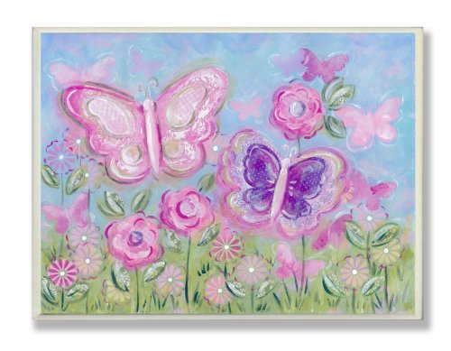 The Kids Room by Stupell Pastel Butterflies in a Garden Rectangle Wall Plaque
