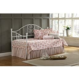 Hillsdale Furniture 1517DBLHTR Lucy Daybed with Trundle Included Suspension Deck Heart-Shaped Scrollwork Threaded Spindles and Tubular Steel Construction in Textured White