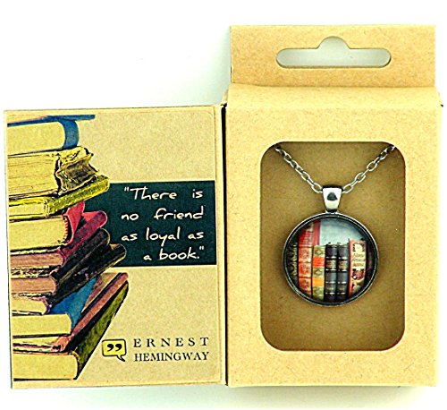 VINTAGE BOOKS PENDANT in Ernest Hemingway Quote Box -