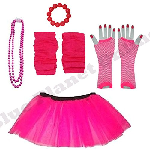 Plus Sizes Neon Tutu Set for 1980s, Fun Run Dress-Up. Sizes 16 to 24