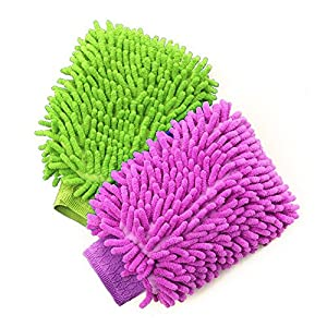 House Cleaning and Car Wash Mitts, BesMelody Home Dusting Microfiber Gloves, Washing Clean Polish Faster (2-Pack, Green/Blue)?