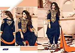 SareeShop Womens Georgette Unstitched Salwar Suit Dress Material (FlowerBlue _Blue_Free Size)