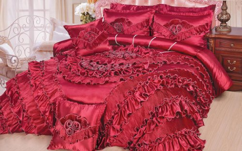 DaDa Bedding BM3069 Queen Sateen Victorian 5-Piece Comforter Set, King, Red