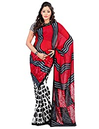 Classy Off White Colored Geometrical Printed Faux Georgette Saree 12817