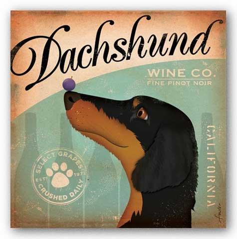 Stephen Fowler Dachshund Wine Art Print Poster - 12x12
