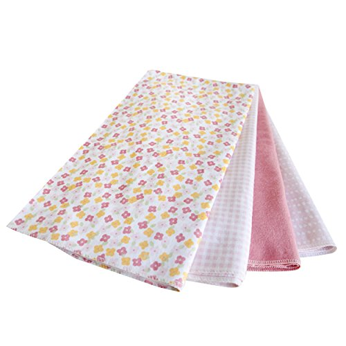Kidsline Fanciful Floral Receiving Blanket, Pink, 4 Count