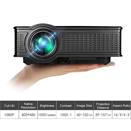 Best Prices! Portable Mini HD Projector 1080p, 1500 Lumens LED Video Projector For Home Theater Movi...