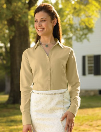 Women'S Carolina Open Neck Shirt With Waffle-Weave Pattern, Color: Maize, Size: Large front-1025177
