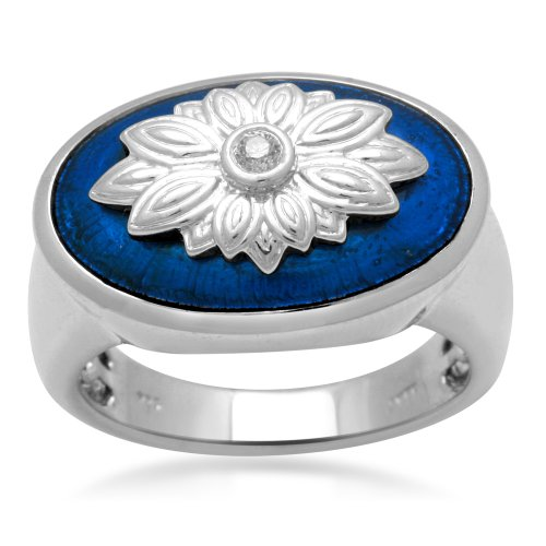 Jewelili Sterling Silver with Translucent Blue Enamel Diamond Ring (0.04 Cttw, IJ Colour, I2/I3 Clarity), Size 7