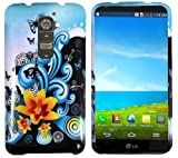 LG G2 Model VS980 (Verizon Only) Premium Pretty Design Protector Hard Cover Case + 3.5MM Stereo Earphones + 1 of New Metal Stylus Touch Screen Pen (Butterfly Yellow Lily Flower Blue Splash)