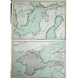 La Impresión Antigua de la Geografía 1872 de Blackie Traza Crimea Báltico Finlandia