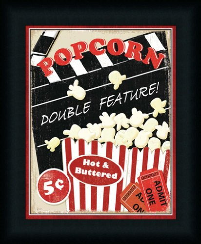 At The Movies I By Veronique Charron Theater Media Room Retro Popcorn Sign Wall Art Print Framed Décor front-1012437