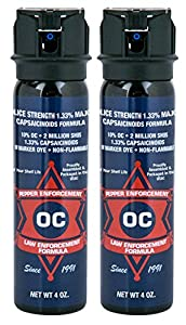 Pepper Enforcement (Pack of 2) Splatter Stream Police Grade Self Defense Pepper Spray - Max Strength 10% OC Law Enforcement Formula - Pack of Two 4-Ounce Canisters w/Safety Flip Top - 4 Year Shelf Life