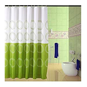 Top Home Green Circle Pattern Design Shower Curtain White Green B