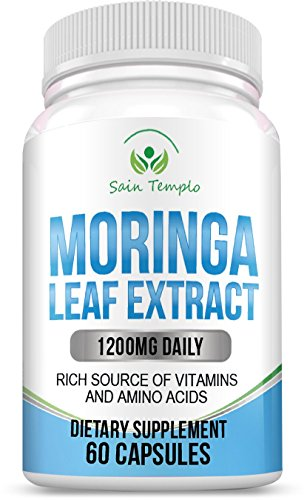 Pure Moringa Olefeira Extract Capsules By Sain Templo- The Most Potent Supplement: 1200mg Natural Organic Leaf Powder Daily- Miracle Tree Superfood- Daily Multivitamin- THE BEST Weight Loss Booster