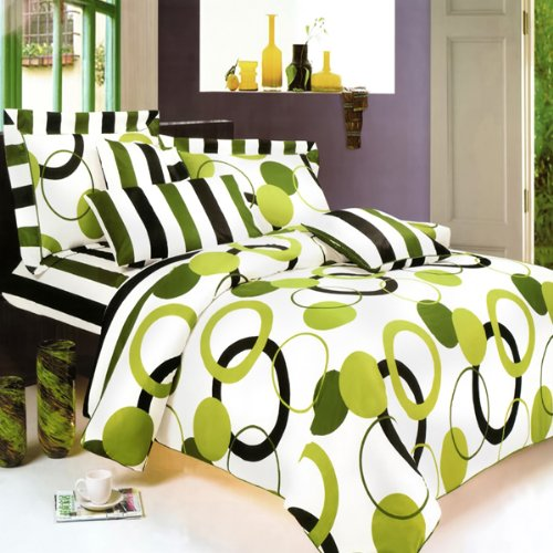 Blancho Bedding - [Artistic Green] 100% Cotton 4PC Sheet Set (Queen Size)