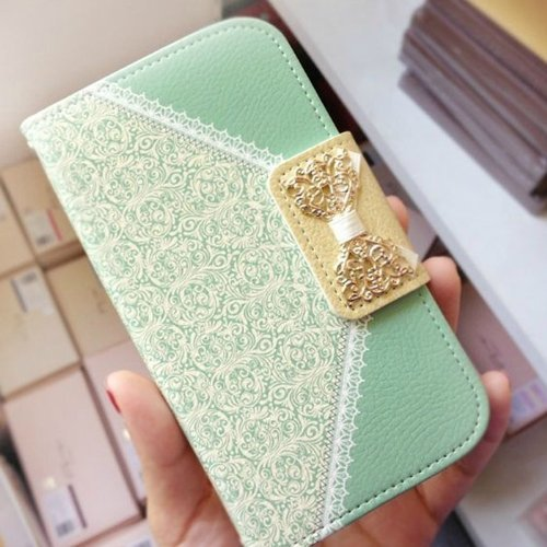 Green Fashion Girl Woman Fresh Sweet Cute Flip Wallet Leather Case Cover For Samsung Galaxy S5 I9600