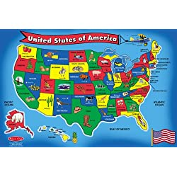 [Best price] Puzzles - Melissa & Doug USA Map 51 pcs Floor Puzzle - toys-games