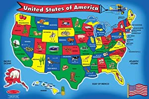 Melissa & Doug USA Map 51 pcs Floor Puzzle