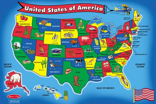 51YCERPJVQL Cheap  Melissa & Doug USA Map 51 pcs Floor Puzzle