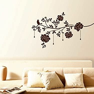 Easy Instant Decoration Wall Sticker Decal - Mocha Hanging Vineyard Bloom (Velvet with Rhinestones)