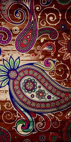Paisley Artwork Design On Wood Background - Plywood Wood Print Poster Wall Art front-1080906