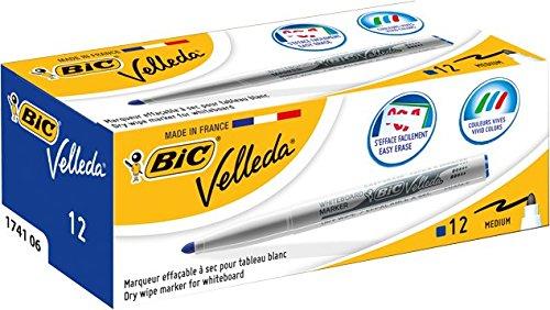 bic-velleda-1741-pack-de-12-marcadores-con-tinta-azul-para-pizarra-blanca