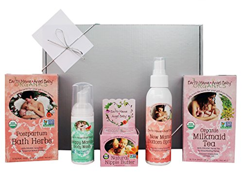 Earth Mama New Mom Organic Gift Box | Set of 5 Earth Mama Items + Bonus Gift Box with Ribbon & Card