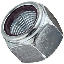 "Steel Machine Screw Hex Nut, Zinc Plated Finish, Grade 2, Self-Locking Nylon Insert, Right Hand Threads, #10-32 Threads, 0.410"" Width Across Flats (Pack of 100)"