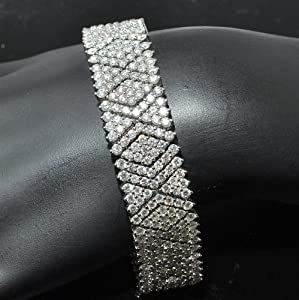 22.2ct Real Diamond Ladies Tennis bracelet Fancy Link 14K White Gold 16.5mm New