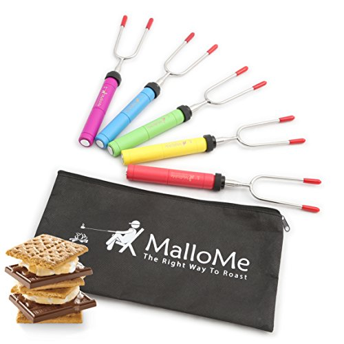 MalloMe Premium Marshmallow Roasting Sticks Set of 5 Smores Skewers & Hot Dog Fork 34 Inch Rotating & Telescoping Patio Fire Pit Camping Cookware Campfire Cooking Kids Accessories - Bonus Bag & Ebook