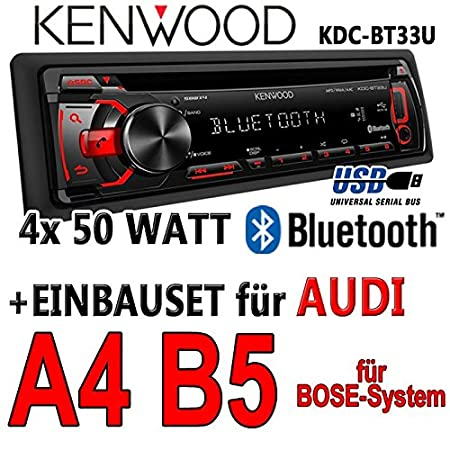 Audi a4 b5 bose kenwood kDC-bT33U-bluetooth cD/mP3/uSB avec kit de montage