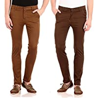 FlyJohn Men's Combo of Two Colors Slim Fit Cotton Lycra Chinos Trousers