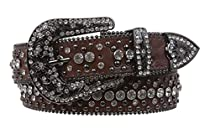 Snap On Rhinestone and Gun Metal Color Circle Studded Leather Belt Color: Brown Size: S/M - 31