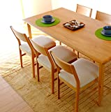 ISSEIKI DINING TABLE ダイニングセット 食卓 7点セット 165×80 ナチュラル色 (チェア(WH)) 天然木ならではの温もり 木製家具 テーブルのみ大型開梱設置便 【ER-01-29】