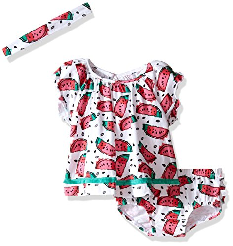 Rosie Pope Baby Girls Watermelon 3 Piece Set with Matching Headband