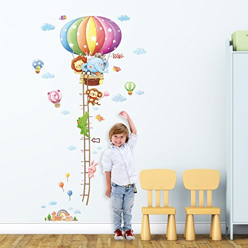 Decowall-DM-1606-Animal-Hot-Air-Balloons-Height-Chart-peel-stick-Nursery-wall-decals-stickers