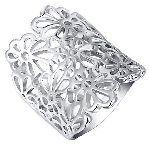 Roxi Free Shipping Platinum/Rose Gold Plated Romantic Elegant Flower Ring Fashion Jewelry (7, Platinum)